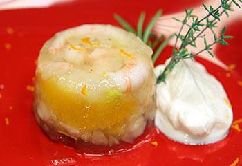 Shrimpssulz mit Fenchel und Orangen