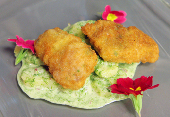 Gebackenes Kitz auf Kartoffel-Bärlauch-Mayonnaise-Salat
