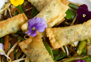 Knusprige Pilztascherln auf Wokgemüse