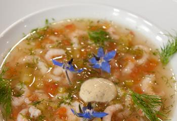 Shrimpssulz mit süßer Senfsauce