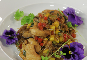 Asiatische Nudelpfanne mit Huhn