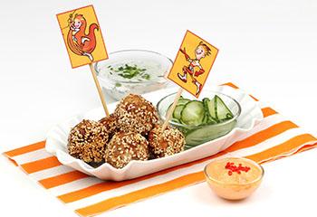 Fleischbällchen mit tollen Dips und Gurkensalat