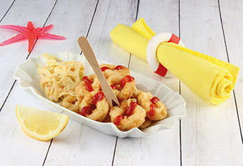Calamari-Rettungsringe mit amerikanischem Krautsalat