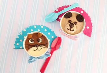 Süße Dessert Tiere - Katze und Hund aus cremiger Mousse