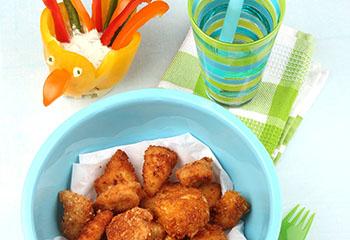 Dreierlei Chicken-Nuggets mit Paprikapfau und Dip