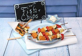 Fischstäbchen-Spieße mit Gemüsepommes