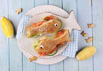 Sesamfischlis mit geräuchertem Lachs