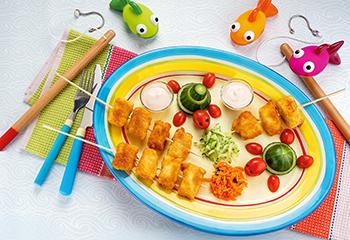 Fisch am Spieß mit buntem Gemüse