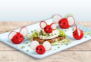Radieschen-Mäuse mit Brotaufstrich