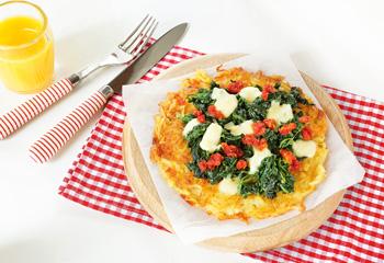 Bio-Röstipizza mit Spinat