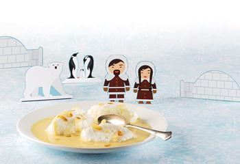 Schneeberge auf Vanillesauce