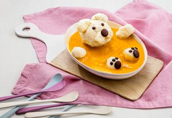 Vanille-Milchreis mit Mango-Orangen-Mus
