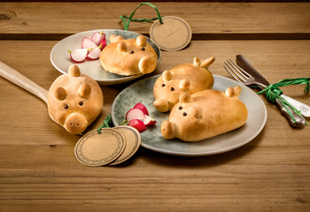 Gefüllte Bio-Gemüse-Schweinchen