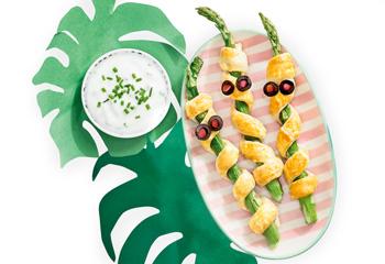 Spargel-Tarzan mit Joghurt-Kräuter-Dip
