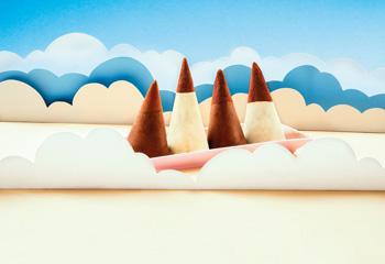 Bergspitzen mit Schokolade