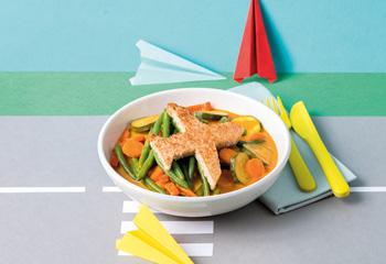 Gemüsecurry mit Flugzeug-Toast