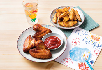 Gegrillte Chicken Wings mit Potato Wedges