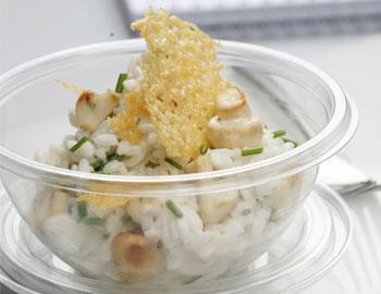 Champignon-Schnittlauchrisotto mit Parmesanchips