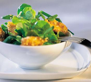 Vogerlsalat mit Keimlingen und Honig
