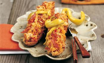 Überbackener Kornspitz mit Sauerkraut