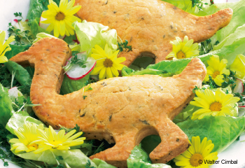Mürbteig-Enten mit Frühlingsalat