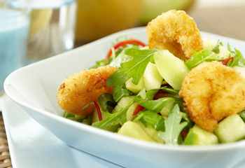 Salat von der Galia-Melone mit Garnelen