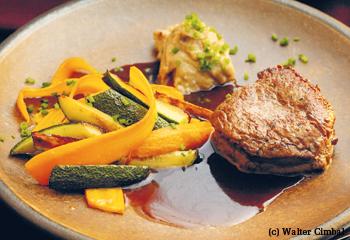 Rinderfilet mit Maronipüree und Karotten-Zucchini-Gemüse