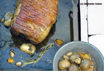 Schweinsbraten in Sherry mit Orangen und Schalotten