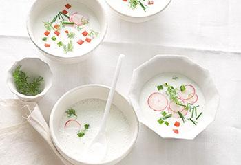 Joghurtsuppe mit Radieschen, Gurke und Paradeiser Foto: © Monika Schürle & Maria Grossmann