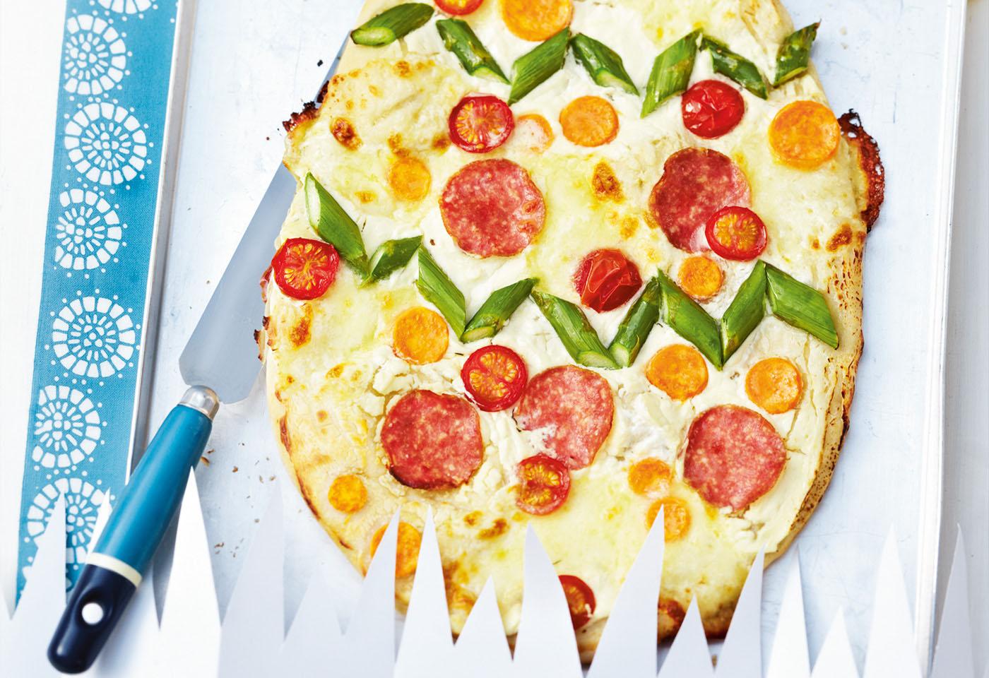 salami spargel pizza frisch gekocht. Black Bedroom Furniture Sets. Home Design Ideas
