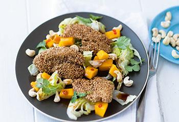Salat mit Sesam-Hühnerbrust und Mango Foto: © Wolfgang Schardt
