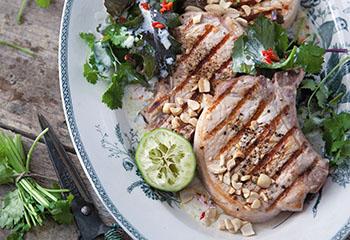 Gegrillte Schweinskoteletts mit Asia-Koriandersalat und gerösteten Erdnüssen Foto: © Monika Schürle & Maria Grossmann