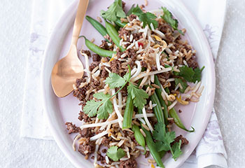 Gebratener Reis mit Faschiertem und Fisolen Foto: © Wolfgang Schardt