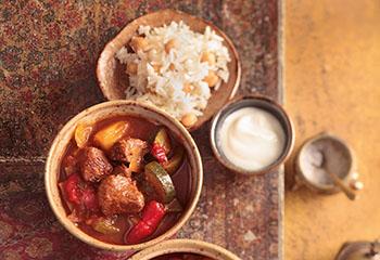 Gemüse-Lamm-Eintopf mit Kichererbsen-Reis Foto: © Peter Garten