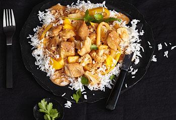Putencurry mit Mango und Reis Foto: © Thorsten Suedfels