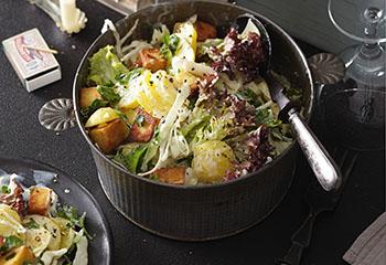 Veganer Kohl-Erdäpfelsalat mit Lollo Rosso und Tofu Foto: © Monika Schürle
