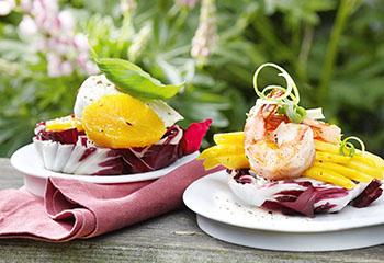 Radicchioscheiben mit Garnelen-Mango- und Mozzarella-Orangen-Salat Foto: © Maria Grossmann & Monika Schürle