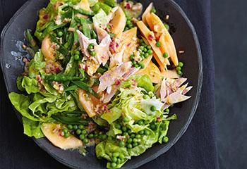 Grüner Salat mit Erbsen, Melonen und Forelle Foto: © Thorsten Suedfels