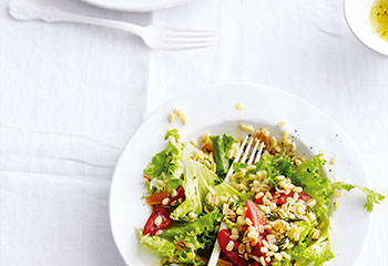 Tomaten-Edelweizen-Salat mit Marillen Foto: © Thorsten Suedfels