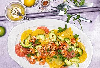 Zitrusfruchtsalat mit Garnelen und Avocado Foto: © Wolfgang Schardt