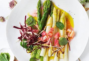 Spargelsalat mit Raddicchio und Rhabarber-Vinaigrette Foto: © Monika Schürle
