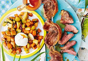 Gegrillter Tafelspitz mit Süßkartoffeln und Ei Foto: © Janne Peters