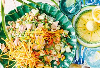 Cremiger Hühnersalat mit Obst und Gemüse Foto: © Janne Peters