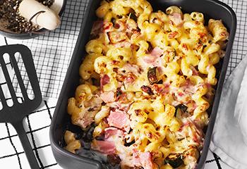 Schinken-Zucchini-Nudelauflauf mit Blattsalat Foto: © Wolfgang Schardt