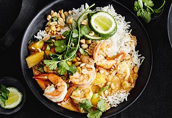 Garnelen-Mango-Curry mit Reis Foto: © Thorsten Suedfels