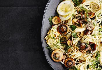 Spaghetti mit Pilzen und Mascarponesauce Foto: © Thorsten Suedfels