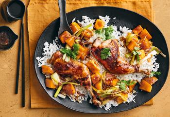 Hühnerkeulen und asiatischer Kürbis mit Reis Foto: © Thorsten Suedfels