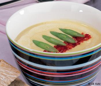 Maissuppe mit Fisolen und Paprika
