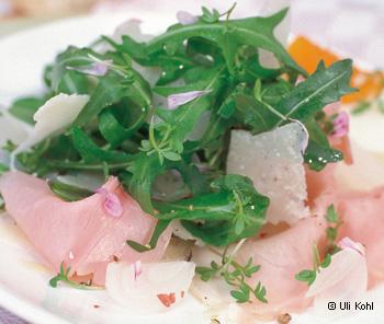 Rucola-Salat mit Schinken & Ei