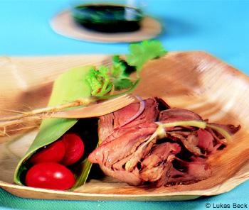 Salat mit Roastbeef und Basilikum